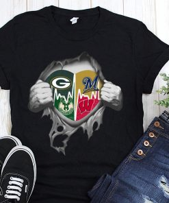 Green bay packers milwaukee brewers milwaukee bucks wisconsin badgers inside me shirt