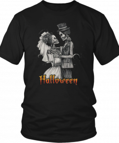 Original Halloween Wedding Day In OctoberBride And Groom Funny Shirt