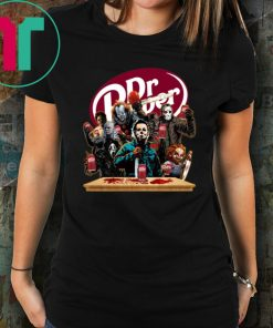 Funny Halloween Horror Characters Drinking Dr Pepper T-Shirt