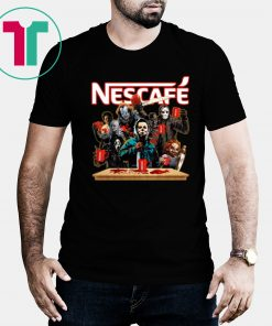 Buy Horror Characters Drinking Nescafe T-shirt Funny Halloween