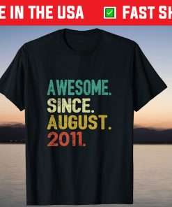10 Years Old Vintage Awesome Since August 2011 10th Birthday T-Shirt