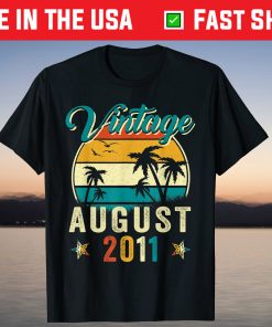 10th Birthday 10 Years Old Vintage Born in August 2011 Birthday T-Shirt